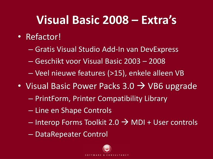 Visual Basic 2008 – Extra's