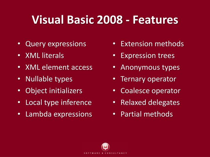 Visual Basic 2008 - Features
