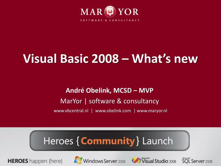Visual basic 2008 what s new
