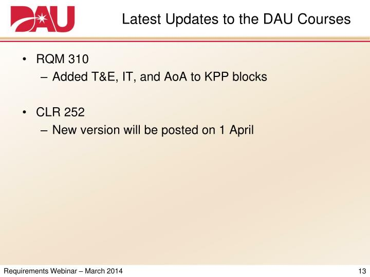 Latest Updates to the DAU Courses