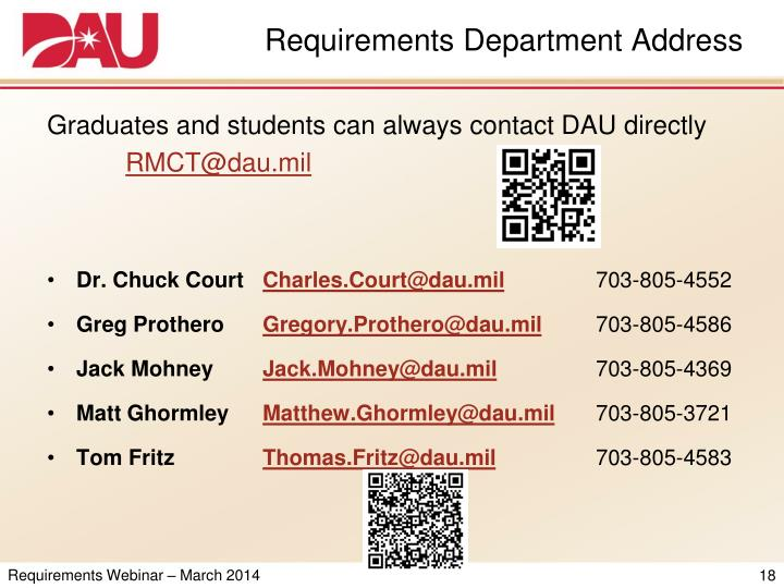 Requirements Department Address
