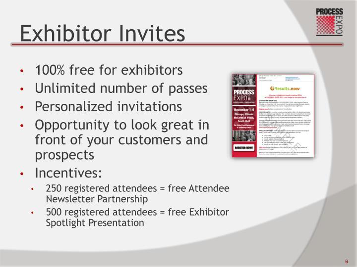 Exhibitor Invites
