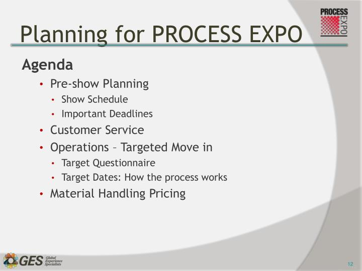 Planning for PROCESS EXPO