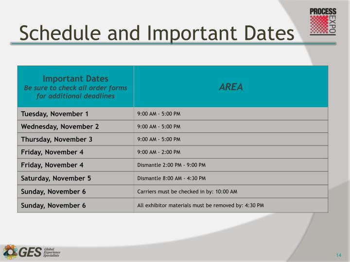 Schedule and Important Dates