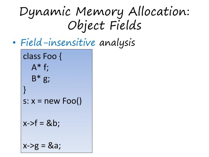 Dynamic Memory Allocation: