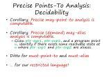 precise points to analysis decidability
