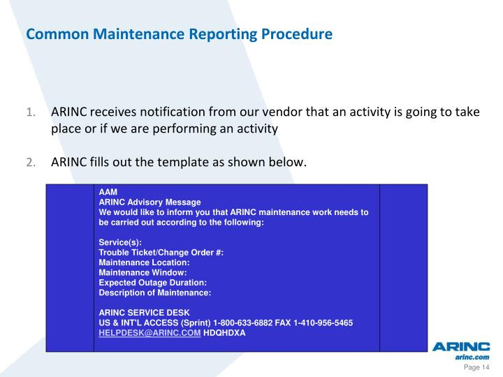 Common Maintenance Reporting Procedure