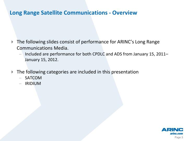 Long range satellite communications overview