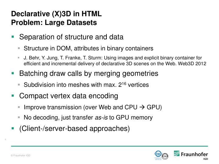 Declarative (X)3D in HTML