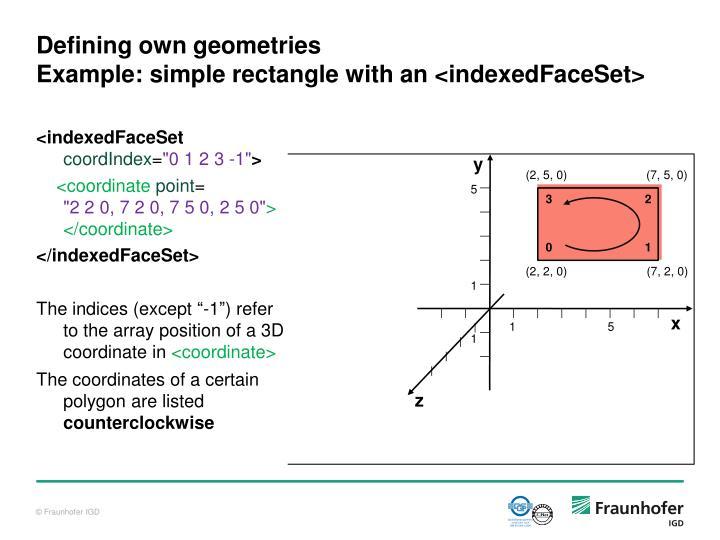 Defining own geometries