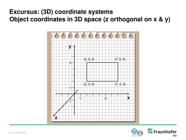 Excursus: (3D) coordinate systems