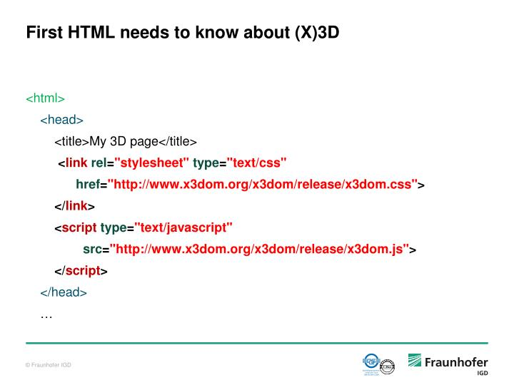 First HTML needs to know about (X)3D