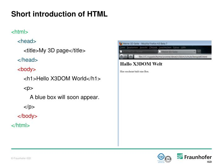 Short introduction of HTML