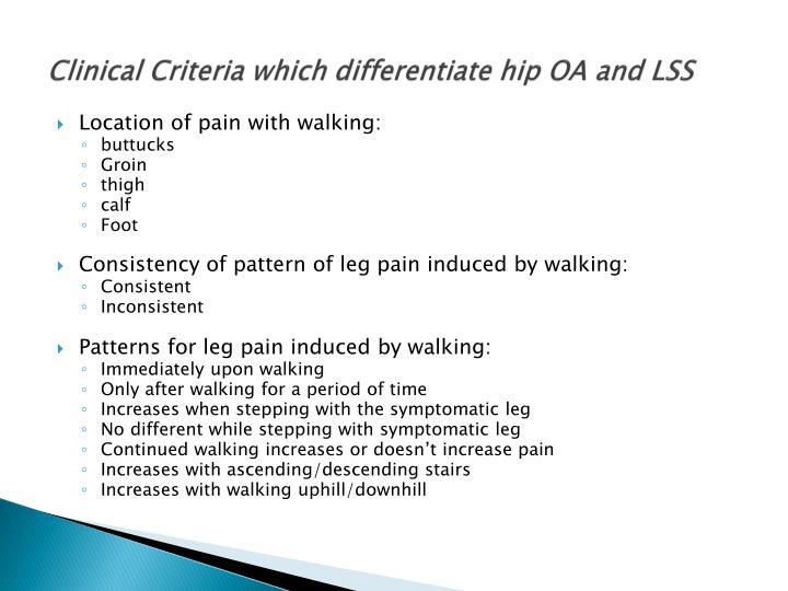 Clinical Criteria which differentiate hip