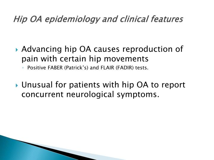 Hip OA epidemiology and clinical features