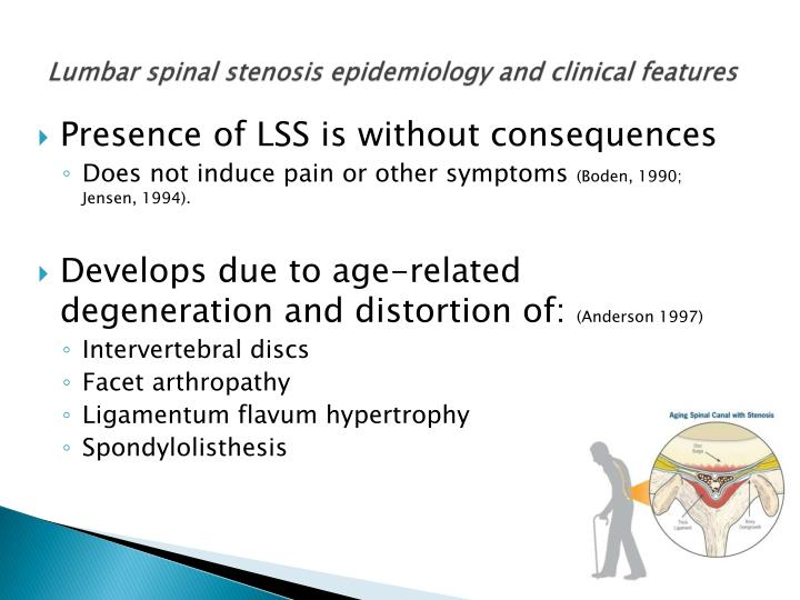 Lumbar spinal stenosis epidemiology and clinical features