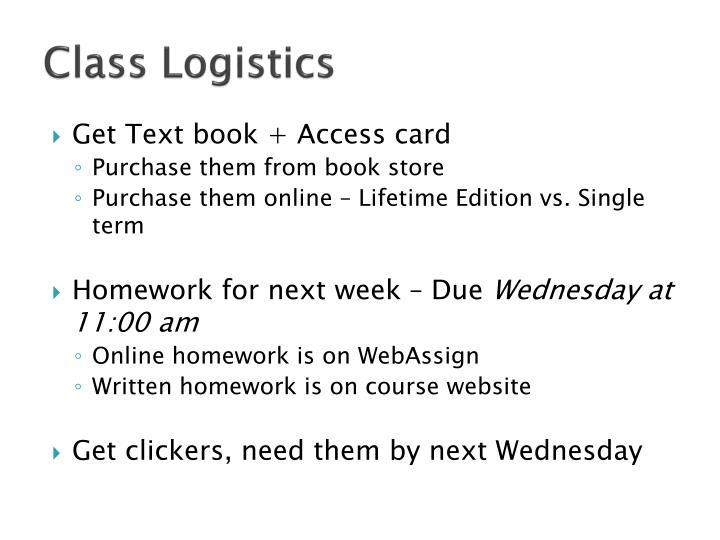 Class Logistics