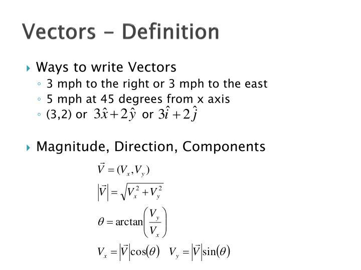 Vectors - Definition