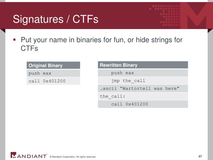 Signatures / CTFs