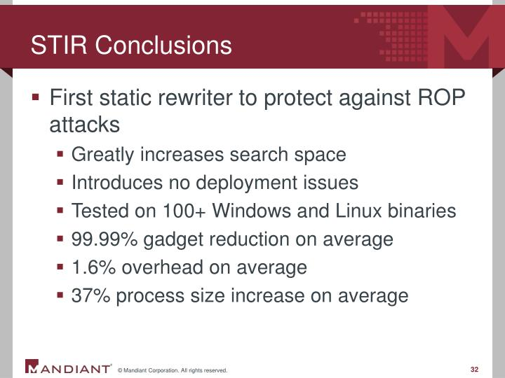 STIR Conclusions