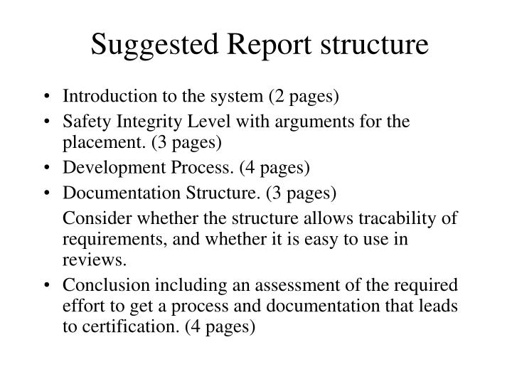 Suggested Report structure