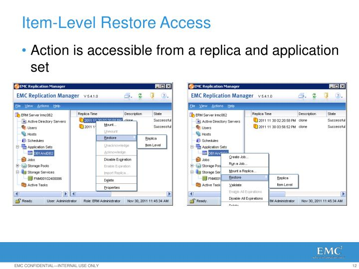 Action is accessible from a replica and application set