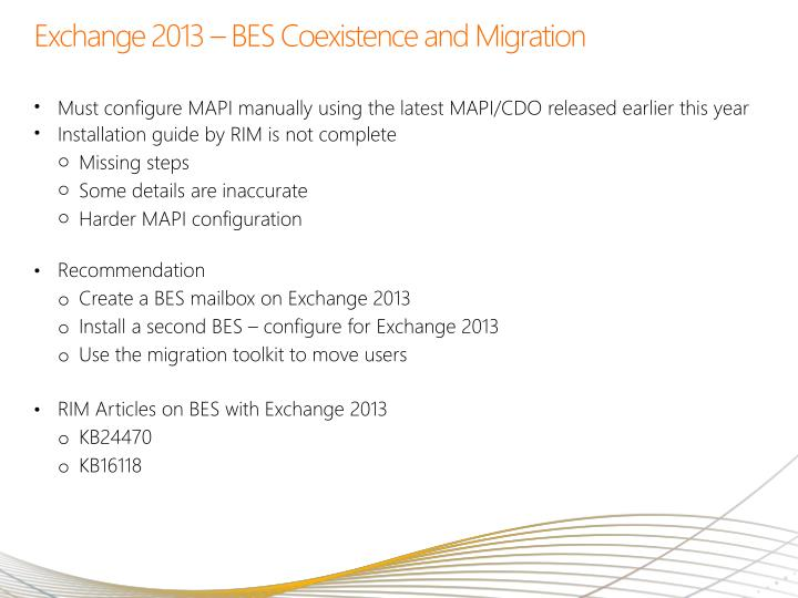Exchange 2013 – BES Coexistence and Migration