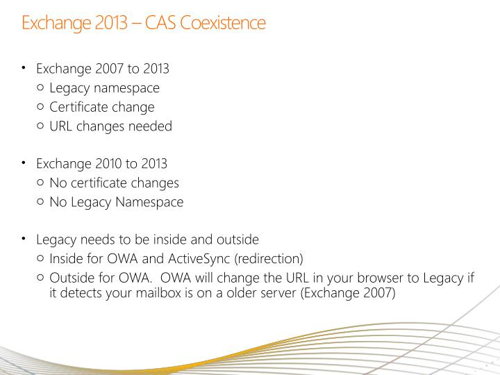 Exchange 2013 – CAS Coexistence