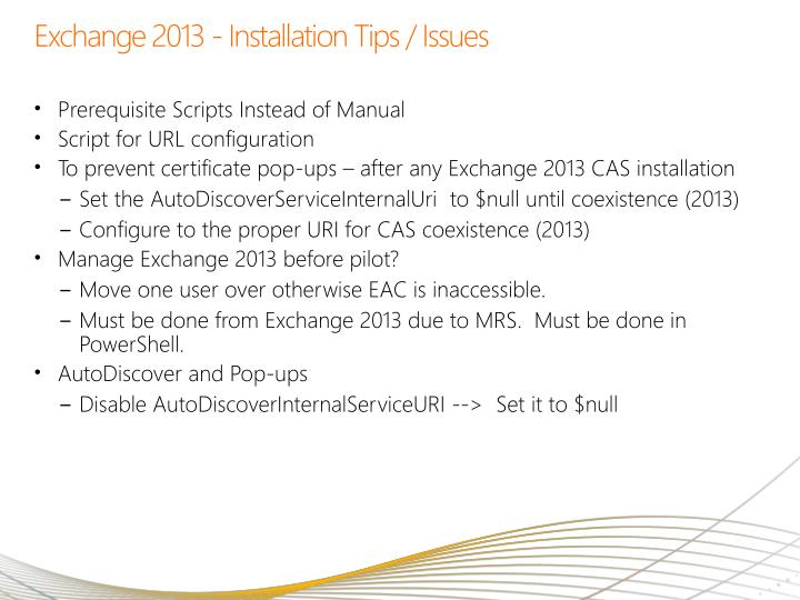 Exchange 2013 - Installation Tips / Issues