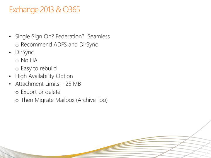 Exchange 2013 & O365