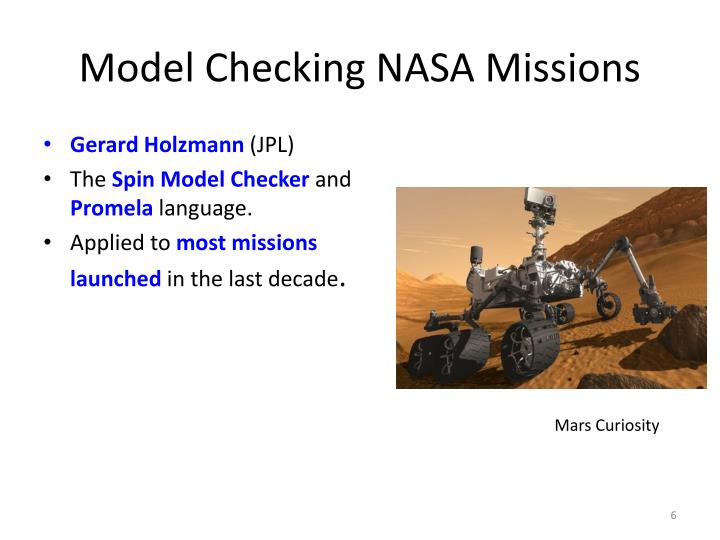 Model Checking NASA Missions