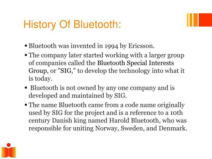 History Of Bluetooth: