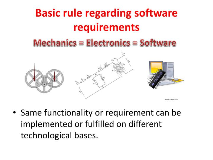 Basic rule regarding software requirements