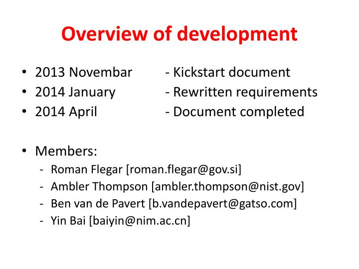 Overview of development