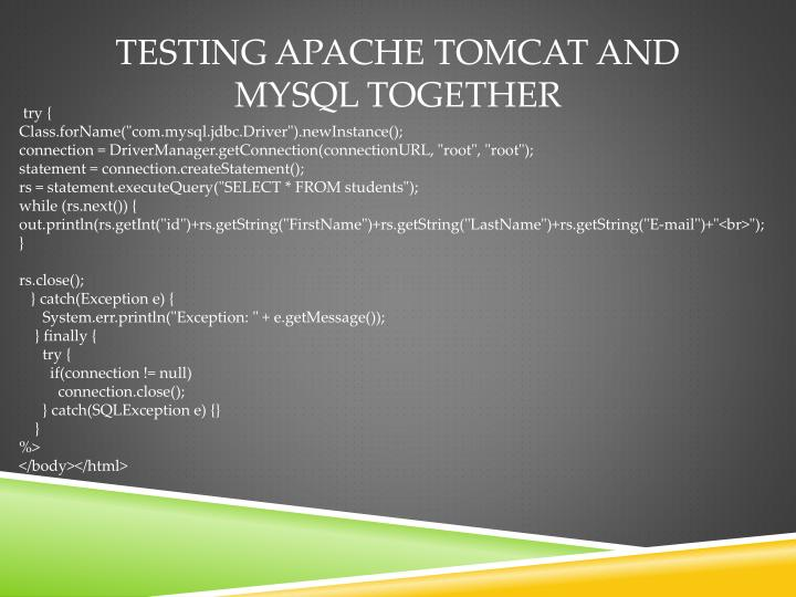 Testing Apache Tomcat and MySQL Together