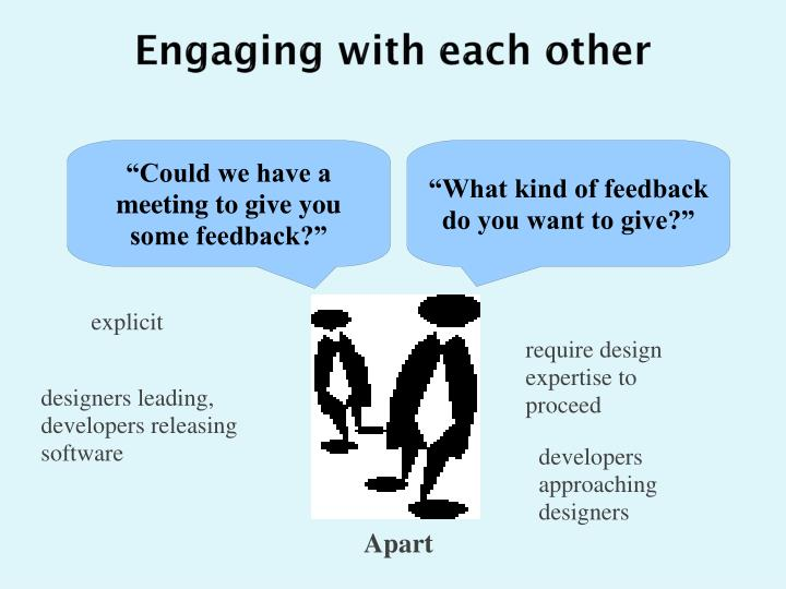 Engaging with each other