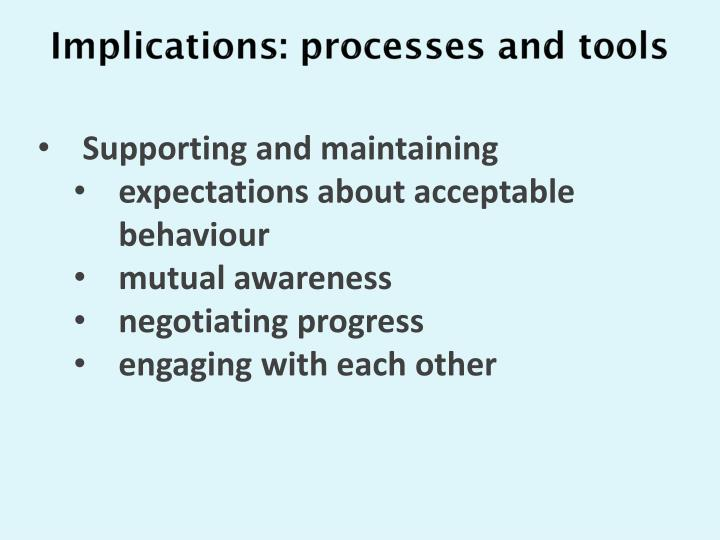 Implications: processes and tools