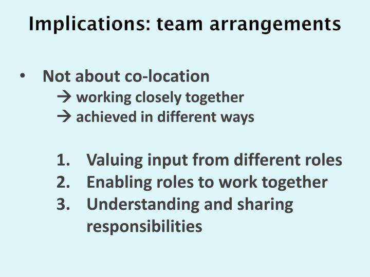 Implications: team arrangements