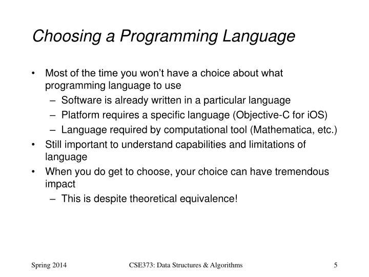 Choosing a Programming Language