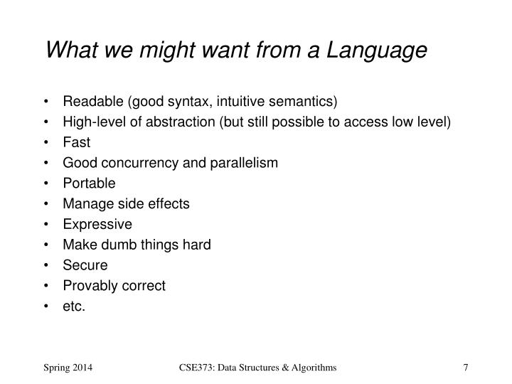 What we might want from a Language