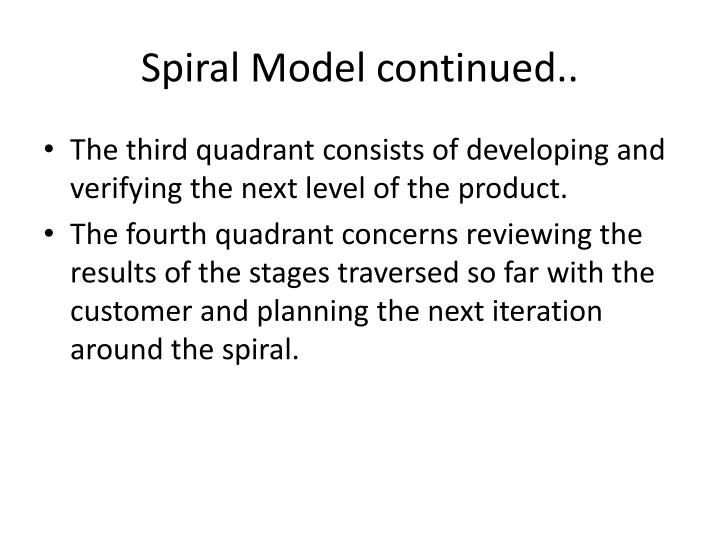 Spiral Model continued..
