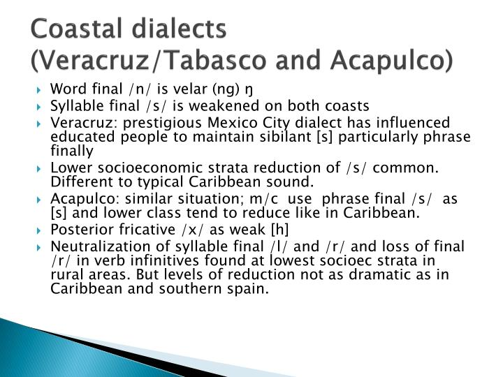 Coastal dialects