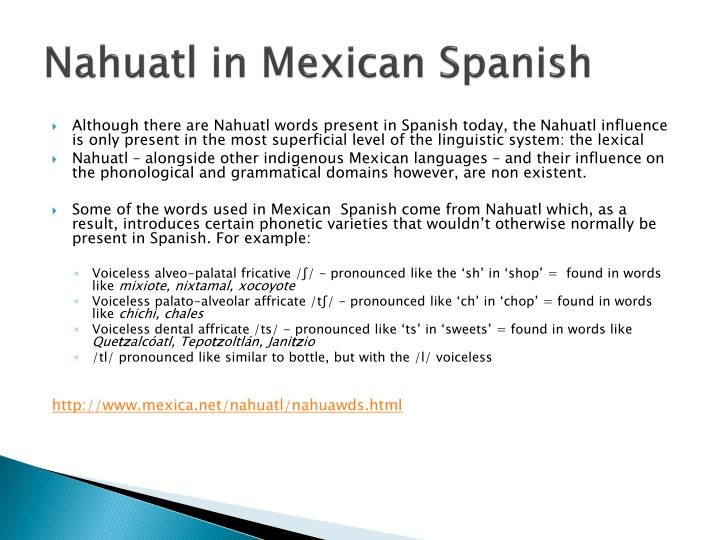 Nahuatl in Mexican Spanish