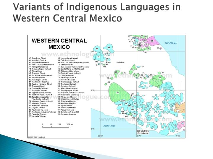 Variants of Indigenous Languages in Western Central Mexico