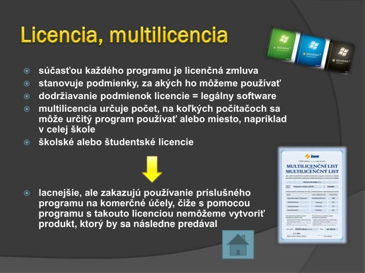 Licencia, multilicencia