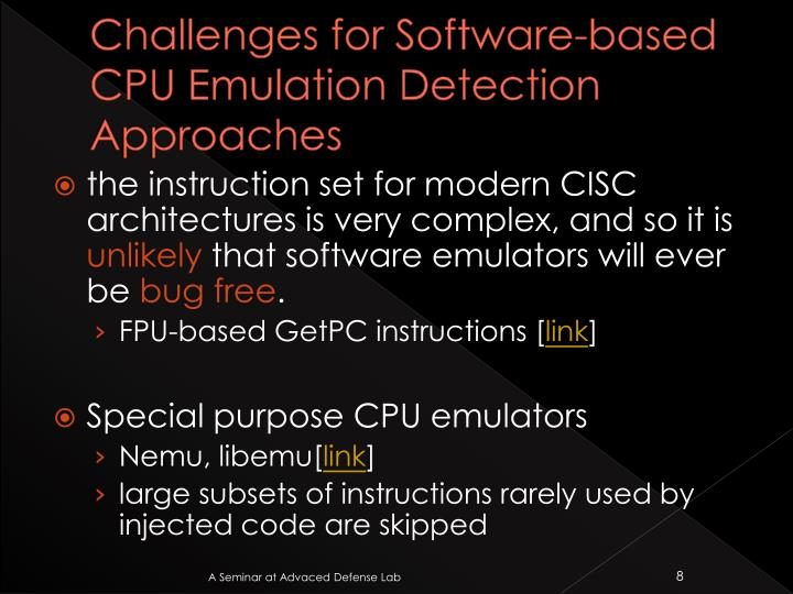 Challenges for Software-based CPU Emulation Detection Approaches