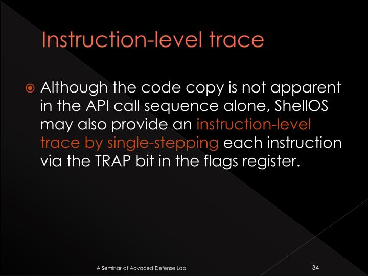 Instruction-level trace
