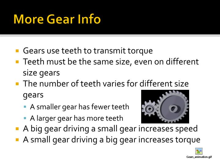 More Gear Info