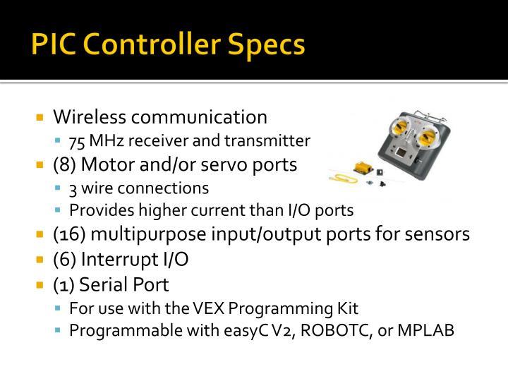 PIC Controller Specs