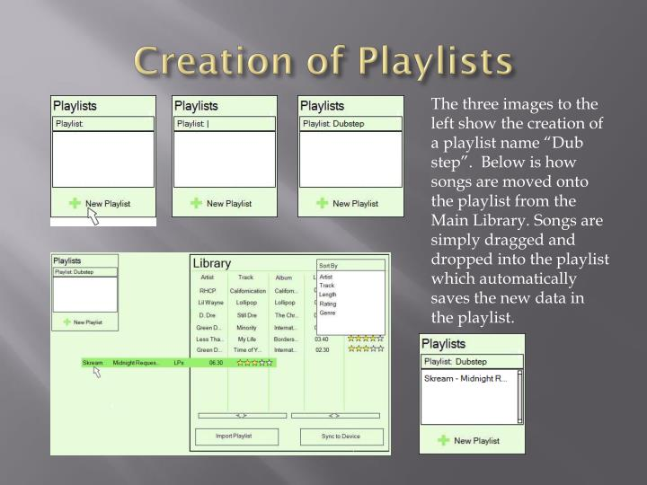 Creation of Playlists